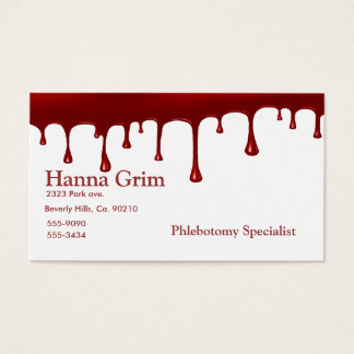 Bloody Red Blood Drip On White Business Card