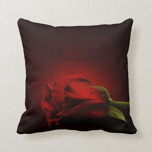 Bloody Red Rose Personalized Throw Pillow Zazzle