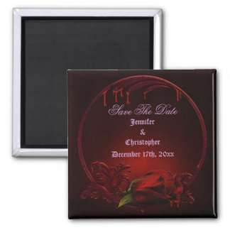 Bloody Rose Frame Save The Date Goth Wedding Refrigerator Magnets