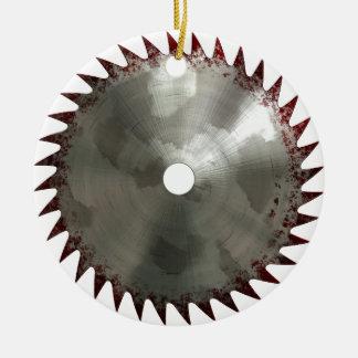 Bloody Saw Blade Ceramic Ornament