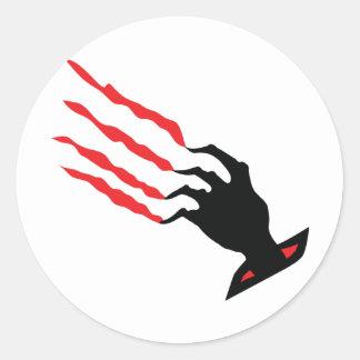 bloody Scratch hand Classic Round Sticker