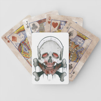 bloody skull and bones bicycle playing cards
