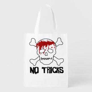 Bloody Skull and Cross Bones Trick or Treat Reusable Grocery Bag