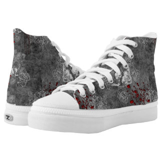Bloody Skull and Roses womens high top shoes