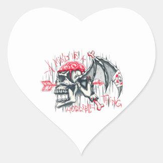 BLOODY SKULL HEART STICKER
