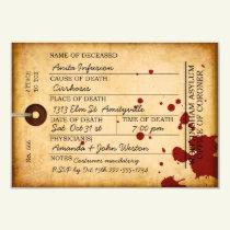 Bloody Toe Tag Halloween Antique Grunge Asylum Invitation