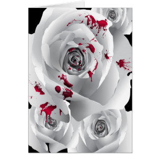 Bloody White Rose Card