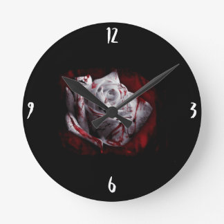 Bloody White Rose Round Clock