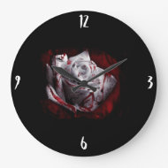 Bloody White Rose Wall Clocks