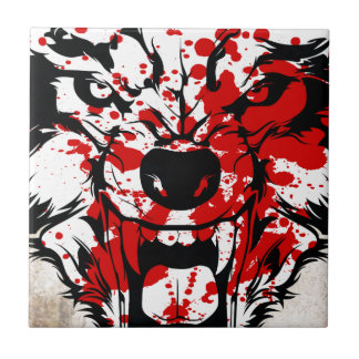 Bloody Wolf Small Square Tile