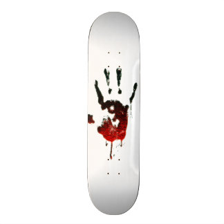Bloody Zombie Hand on white Skateboard Deck