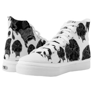 Bloody Zombie Skull (blacl and white) High-Top Sneakers