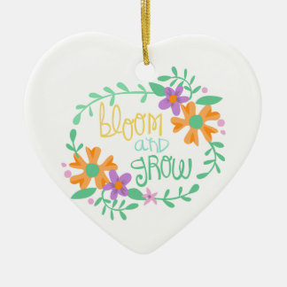 BLOOM AND GROW Double-Sided HEART CERAMIC CHRISTMAS ORNAMENT