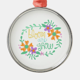 BLOOM AND GROW ROUND METAL CHRISTMAS ORNAMENT