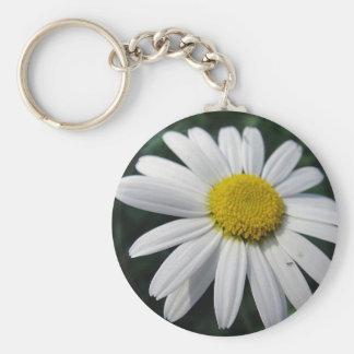 Bloom center white daisy keychain
