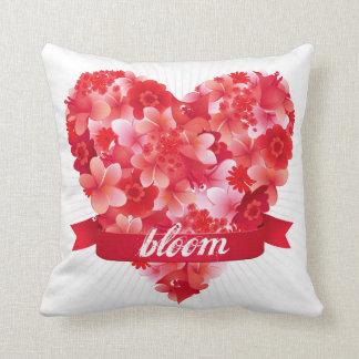 Bloom! Exotic tropical flower heart design Throw Pillow