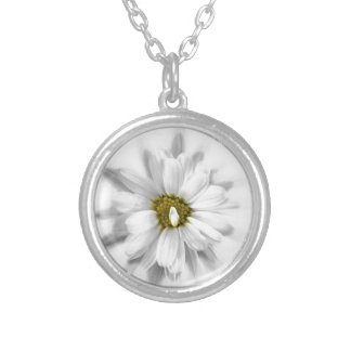 bloom in shades of white silver plated necklace