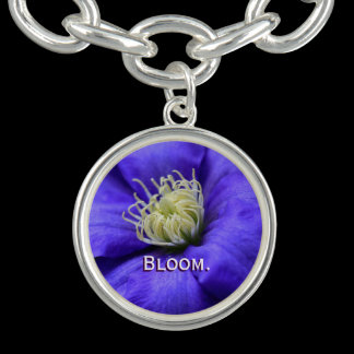 Bloom Purple Wildflower Clematis Flower Custom Bracelet