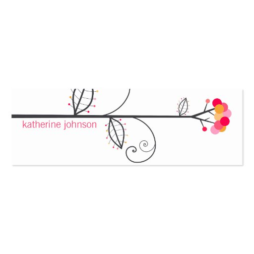 Bloom Tree Dots *07 Pink Whimsical Profile Card Business Card Templates