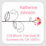 Bloom Tree Dots Pink Cute Address Labels Stickers