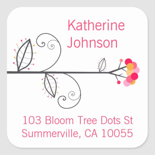 Bloom Tree Dots Pink Cute Address Labels Stickers Square Sticker