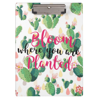 Bloom Where You Are Planted Cactus Print Clipboard