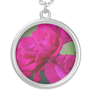 Bloomed Pink Rose Silver Plated Necklace