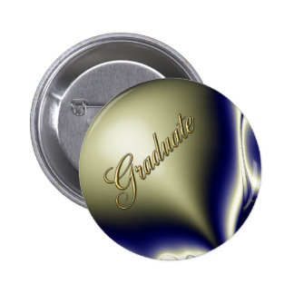Bloomin Blue Fractal Graduate Button
