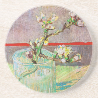 Blooming Almond Branch in a Glass Coaster