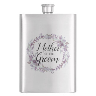 Blooming Amethyst Floral Boho Mother of the Groom Flask