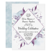 Blooming Amethyst Floral Diamond Wedding Ceremony Invitation