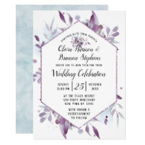 Blooming Amethyst Floral Hexagon Wedding Ceremony Invitation