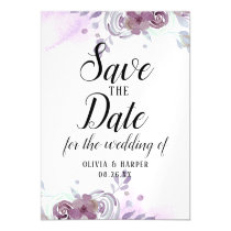 Blooming Amethyst Floral Watercolor Save the Date Magnetic Invitation