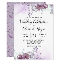Blooming Amethyst Floral Wedding Ceremony Invitation