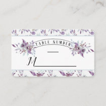Blooming Amethyst Floral Wedding Table Number Place Card