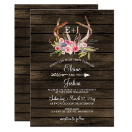 Blooming Antlers Country Chic Wedding Invitations