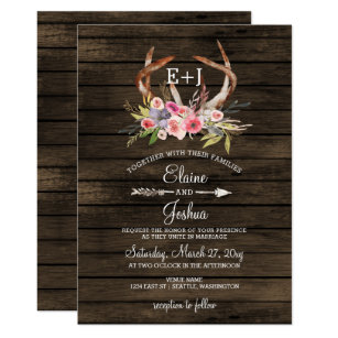 Bohemian wedding invitations announcements zazzle blooming antlers country chic wedding invitations stopboris Images