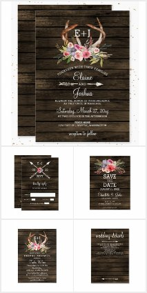 Blooming Antlers Rustic Chic Wedding Invitations
