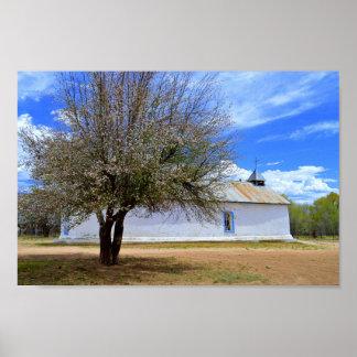 Blooming Apple Tree, Sangre De Cristo Chapel, N.M. Poster