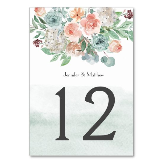 Blooming Apricot and Green Watercolor Floral | Table Number
