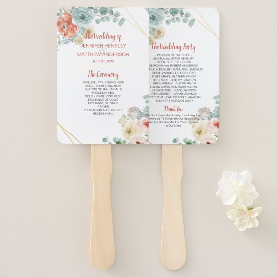 Blooming Apricot Floral Geometric Frame Wedding Hand Fan