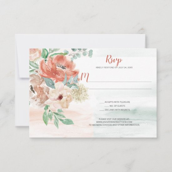 Blooming Apricot Watercolor Floral RSVP