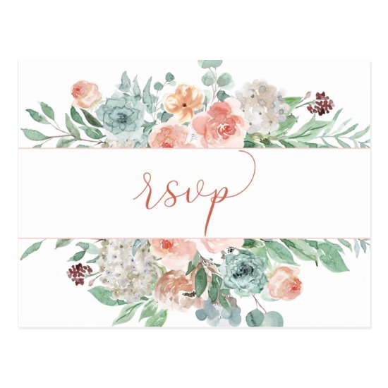 Blooming Apricot Watercolor Floral RSVP Postcard