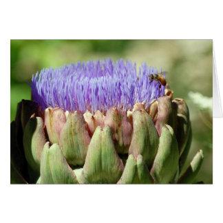 blooming artichoke and bee card