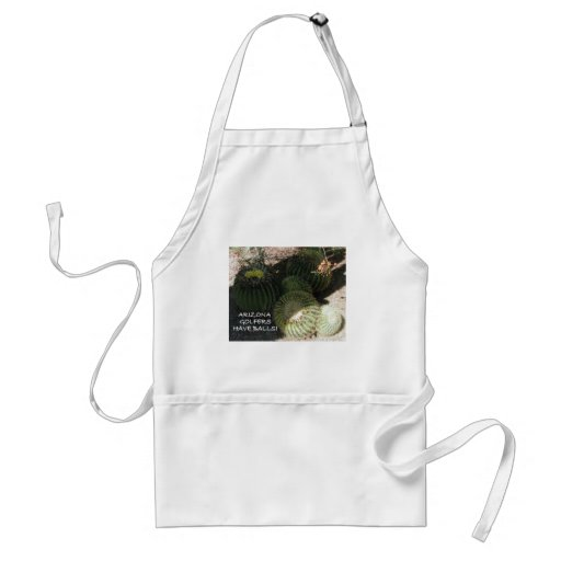 BLOOMING BARREL CACTI AND ASSORTED PHRASES ADULT APRON
