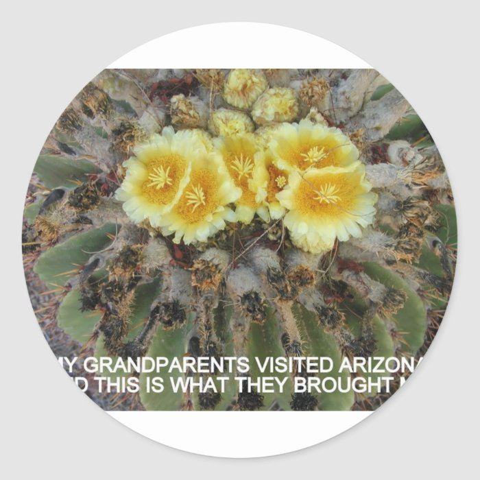 BLOOMING BARREL CACTI AND PHRASES CLASSIC ROUND STICKER