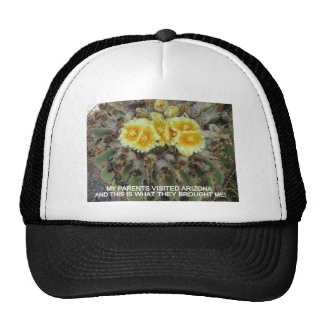 BLOOMING BARREL CACTI AND PHRASES MESH HATS