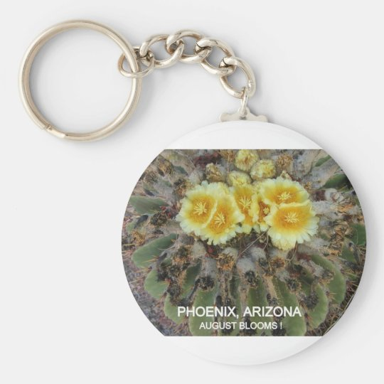 BLOOMING BARREL CACTI AND PHRASES KEYCHAIN