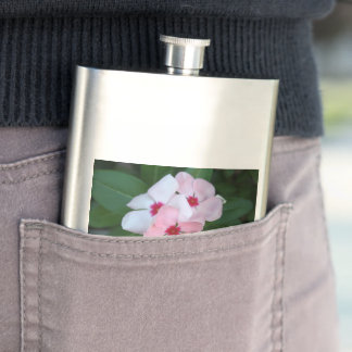 Blooming Beautiful Pink Impatiens Flowers Hip Flask
