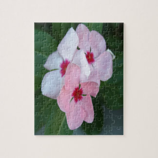 Blooming Beautiful Pink Impatiens Flowers Jigsaw Puzzle